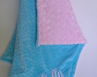 SALE Aqua Turquoise and  Pink Minky Blanket for Baby GirlCan Be Personalized