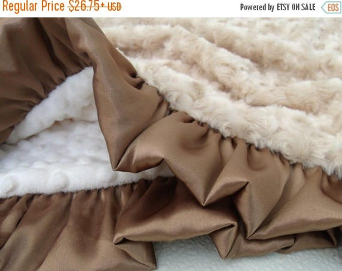 SALE Cream and Tan Light Brown Minky Blanket, Photo Prop Baby Shower or Graduation Gift Can Be Personalized