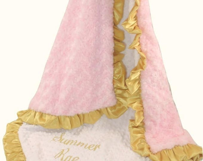 SALE Pink and Gold Minky Baby Blanket, Gold and Light Baby Pink Minky Blanket for Baby Girl,Can Be Personalized