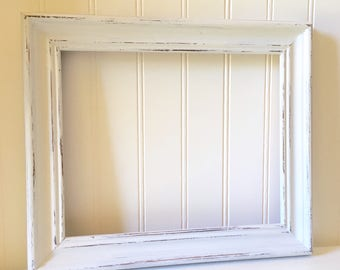 Thick White Wood Picture Frame 8 x 10 inch Wall Hanging Shabby Chic Farmhouse Style
