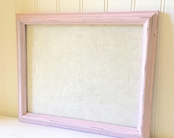 Shabby Chic Pink Wood Picture Frame 8 x 10 with Glass Farmhouse Style Wall Hanging