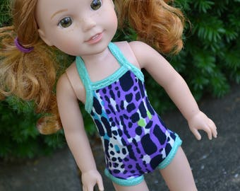 14.5 inch Doll Clothes, Halter Swimsuit, PURPLE BLUE GREEN, Pool Style Beachwear, Small Doll clothes,  fit Wellie Wisher Dolls