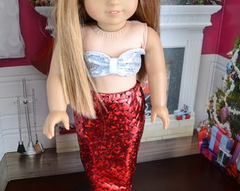 18 inch Doll Clothes - Mermaid Costume - Mermaid Tail - RED SILVER BLACK - Pretty Sparkly - fits American Girl