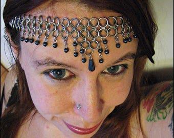 The Diana Princess Tiara Natural Stone Hematite Grey Chainmail Headband Necklace Choker