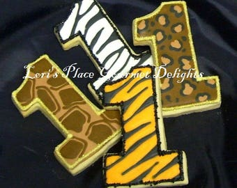 Animal Print Number One Cookies - 1st Birthday Cookies - 12 Cookies