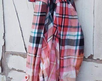 Small Candy Pinks Faded Vintage Wash Flannel