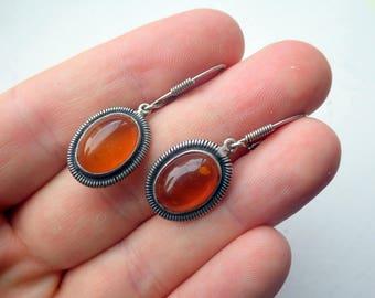 Amber Sterling Silver Drop Earrings - Vintage.