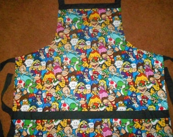 NINTENDO MARIO CHARACTERS  Apron, Fully Lined, Large Pockets, Washable