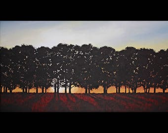 Contemporary Modern Art Red Tree Landscape Original Huge Acrylic Canvas 24x46x1.5 Ready to Hang FREE SHIPPING Silhouette Treeline, Trees
