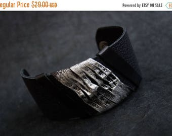 40% OFF SALE Women's Leather Bracelet Elegant Cuff Wristband Fashion Jewelry Wide Black Bangle