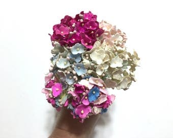 Vintage Flower Pick, Flower Millinary, Paper Flower, 40 Mini Flowers, Floral Arrangement, Floral Supplies, For Get Me Nots, Craft Flowers