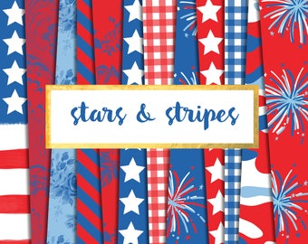 New! Stars and Stripes Digital Paper Pack (Instant Download)