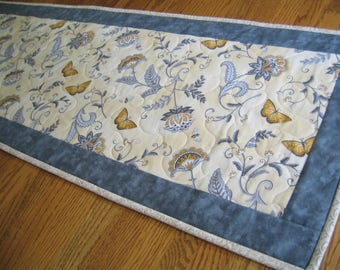 Quilted Table Runner in a Yellow and Gray Floral with Butterflies - NEW PATTERN