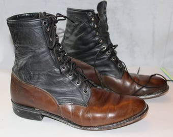 Vintage Justin Leather Two-Toned Boots, Size 11D