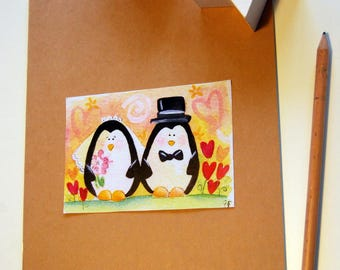 Grooms diary-diary with illustrated cover marriage penguins cats owls