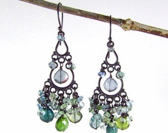 25 OFF Tourmaline And Sapphire With Oxidized Sterling Silver Cluster Chandelier Earrings
