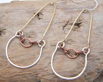Sterling, Brass Wire, Geometric Copper Link Dangling Earrings