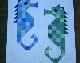 Blue And Green Seahorse Quilted Wallhanging Baby Quilt