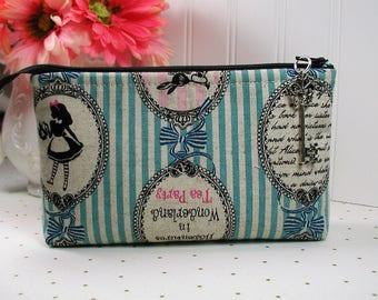 Alice in Wonderland Zipper Pouch/ Lecien A Girl's Story, Alice/ Cameos on Aqua Stripe