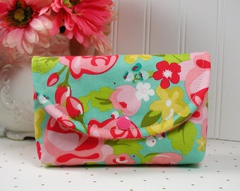 Snap Pouch, Large Snap Pouch, Cosmetic Pouch, Hello Gorgeous in Mint, Pink and Red Floral