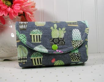 Snap Pouch, Large Snap Pouch, Cosmetic Pouch, Accessory Pouch, Cactus Pouch..Cactus Hoedown in Black