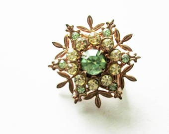 Vintage Green Rhinestone Pin