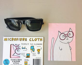 Microfibre Cloth - Cat Wearing Glasses