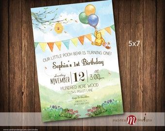 Classic Winnie the Pooh Birthday Invite