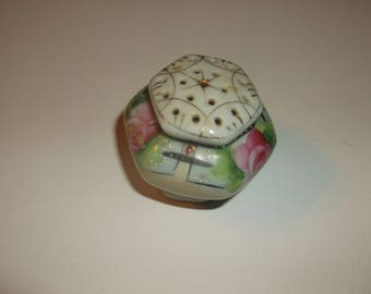 Vintage Japan Hat Pin Holder Excellent condition Handpainted Rose