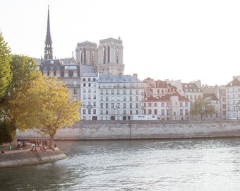 Paris Photography, Sunset on Il St Louis, Paris, Summer in France, Parisian, Notre Dame, Paris Wall Art, Sunset, Architecture, Summer