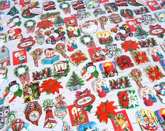 Vintage Christmas Dennison Die Cut Seals  | Labels Stickers | Santa Angels Bells Poinsettias Carolers Snowman | 25 pcs