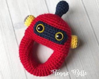 Robby the Robot Crochet Toy Rattle- Amigurumi: Red, Navy Blue, Yellow