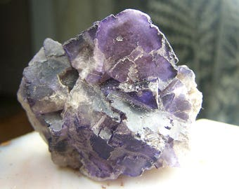 Purple Fluorite crystal cluster - large raw natural rough cube formation geometric shape - dark purple specimen - pixellated - etched P46Y