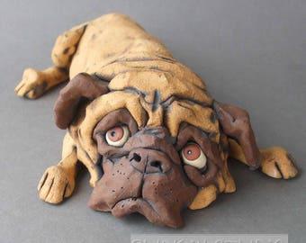 Pug Dog Ceramic Sculpture