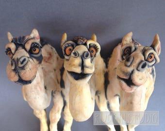 Camel Trio Ceramic Animal Wall Sculpture