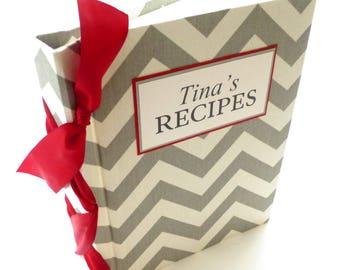 Personalized Recipe Book / Grey recipe book / chevron recipe book / Mother's Day - 8.5x11-choose your ribbon color