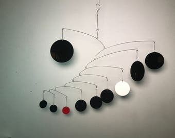 Outdoor Mobile Black with White And Red - Perfect for the Nursery or Patio - Modern Mobile Classic Colors