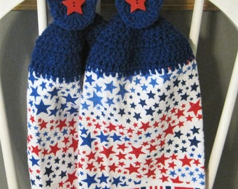 2 Crocheted Hanging Kitchen Towels with Pot Holder - Patriotic Starburst