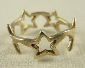 Vintage Size 7.75 Sterling Star Banded Ring