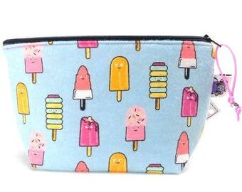 Zippered NOTIONS BAG with zipper pull - Sweet Treats (Flannel)