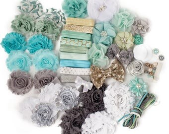 April Showers : DELUXE DIY Flower Elastic Headband Kit | MAKES 25+ Hair Accessories | Baby Showers + Birthdays Aqua Gray Mint
