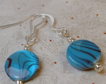 SALE, 50%, Bright Blue with black stripes Mother of Pearl shell earrings in a single dangle design, blue earrings, shell earrings