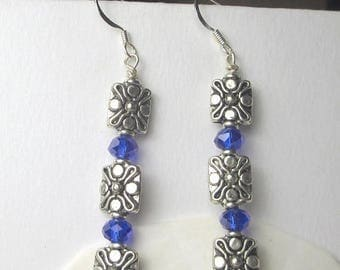 70% SALE Blue Cobalt chech beads with silver plated metal charms dangle earrings, holiday earrings, blue earring, dangles, vintage style, re