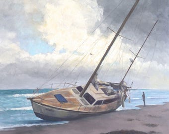 Ghost Ship, 20x20 Oil on Canvas, Sailboat Beached after Hurricane Irma , FREE SHIPPING in US
