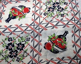 Vintage Feedsack Fabric Polka Tomato Bowl & Wine Lattice Floral Feed Sack 37 x 42 #mm85