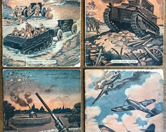 Vintage School Notebooks - World War II-Era - Four Used Exercise Books from 1945