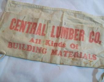 Lumber yard apron, Central Lumber Co, Vintage Nail Apron, Canvas Nail Apron,  Building Materials, Carpenters Apron