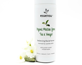 Organic Matcha Green Tea and Vinegar Herbal Facial Toner | Normal to Combo Skin | Balancing Formula | All Natural | Vegan , No Gluten - 8 oz