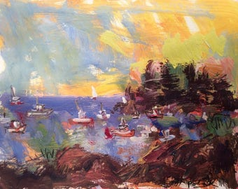 Maine Coastal Seascape expressive painting with sailboat and lobster boats 11 x 14 inch painting on archival  paper