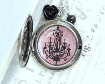 Victorian Locket Necklace Black Goth Locket Necklace Round Filigree Locket Necklace Locket Gift